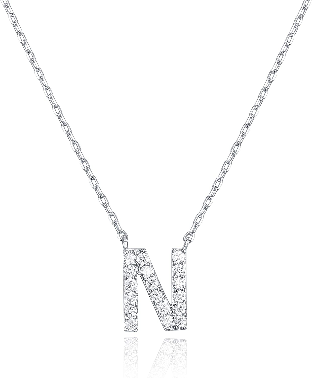 PAVOI 14K White Gold Plated Cubic Zirconia Initial Necklace | Letter Necklaces for Women