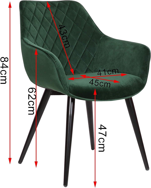 eSituro Lot de 2 Chaises de Salle à Manger en Velours et métal Utiliser pour Cuisine,Gris Foncé SDC0174-2 Vert