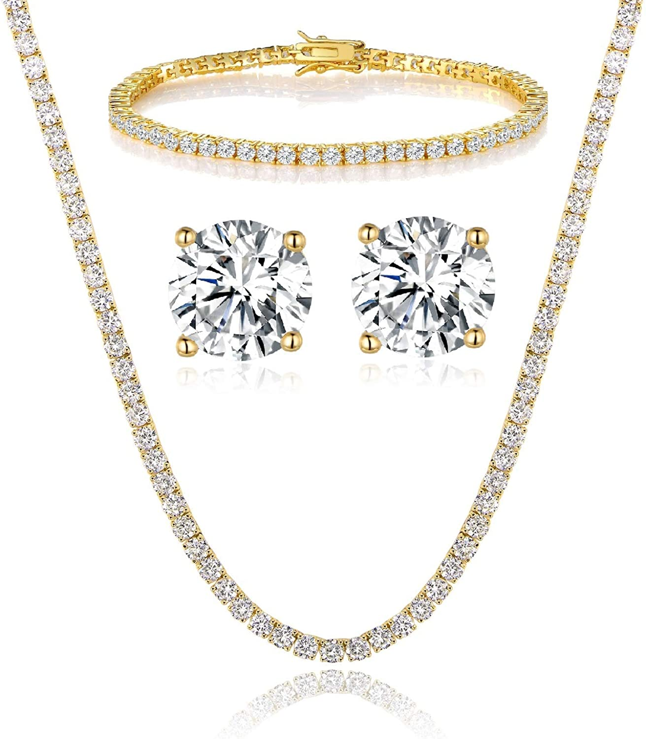 18K Yellow Gold Plated Tennis Necklace/Bracelet/Earrings Sets Pack of 3