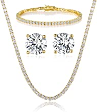 GEMSME 18K Yellow Gold Plated Tennis Necklace/Bracelet/Earrings Sets Pack of 3