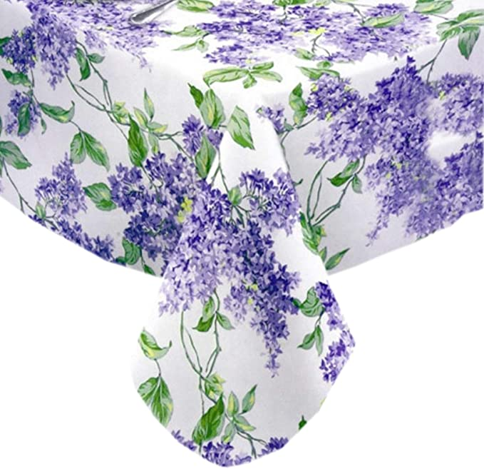 "Lenox Vinyl Tablecloth Round  70/"" Lavender Floral Seats 4-6 Flannel Back"
