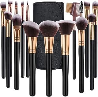 برس برس آرایشی SOLVE 16 عدد Premium Synthetic Foundation Blending Blush Concealer Eye Shadow Makeup Brush Set bag کیف آرایشی مسافرتی چرمی شامل , مشکی با گل رز