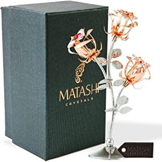Matashi Rose Gold Chrome Plated Rose Flower Tabletop Ornament with Red & Pink Crystals Metal Floral Arrangement Decorative Office Home Decor Elegant Petal Craftsmanship