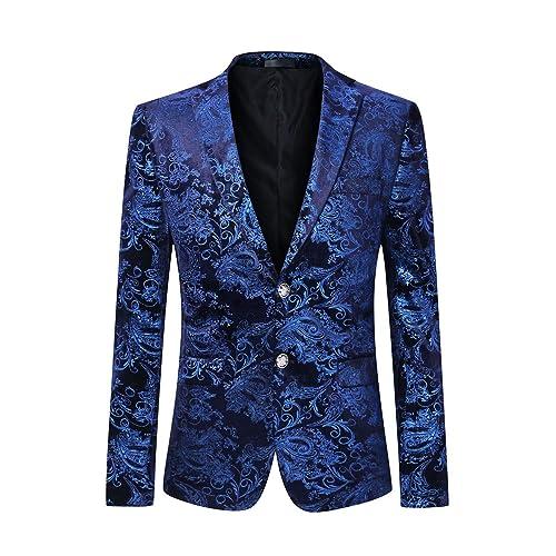 dd725d35c59809 Men's Dress Floral Suit Notched Lapel Slim Fit Stylish Blazer Dress Suit