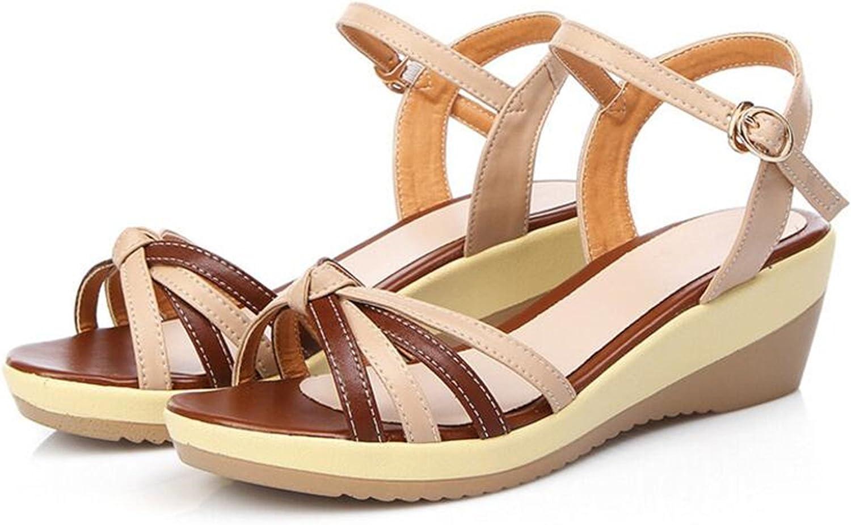 Gome-z 2018 New Summer Elegant Mixed color Sandals Open Toe Large Size Wedges Sandals Women shoes Summer Sandals