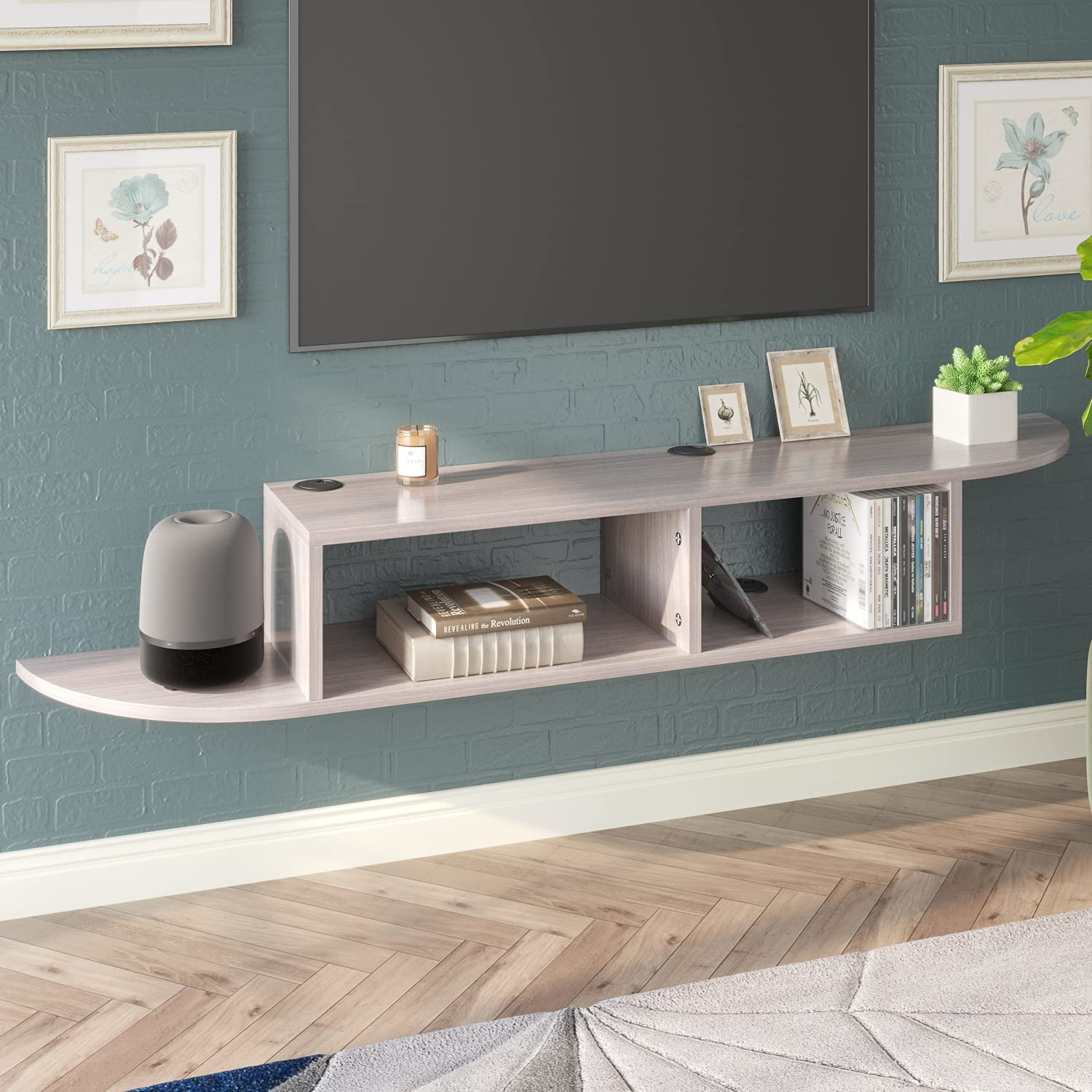 """Wall Mounted TV Stand Entertainment Center TV Shelf, Modern Floating TV Console for Cable Box/Xbox One, 55"""" Media Console Floating Shelf for Under TV (Grey/White)"""