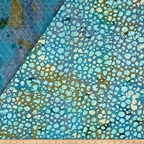 Textile Creations Double Face Quilted Indian Batik Dots Fabric by The Yard, Aqua