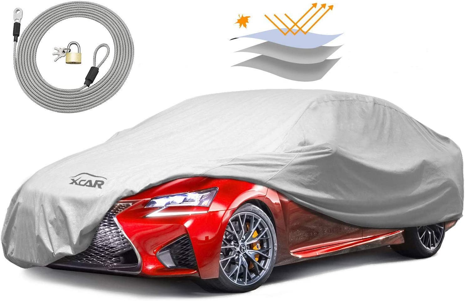 XCAR Universal Breathable Dust Prevention Car Cover-Fits Sedan Hatchback Up To 200 Inch In Length