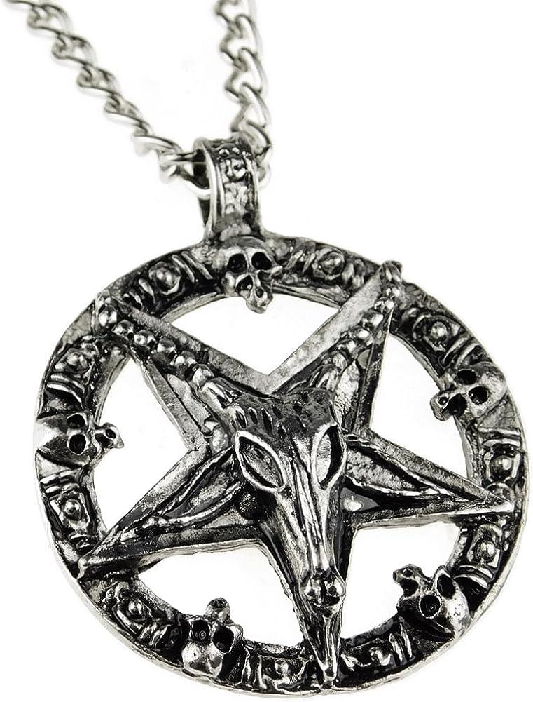 Bling Cartel Baphomet Inverted Pentagram Pendant Chain Occult Goat Satanic Devil 28
