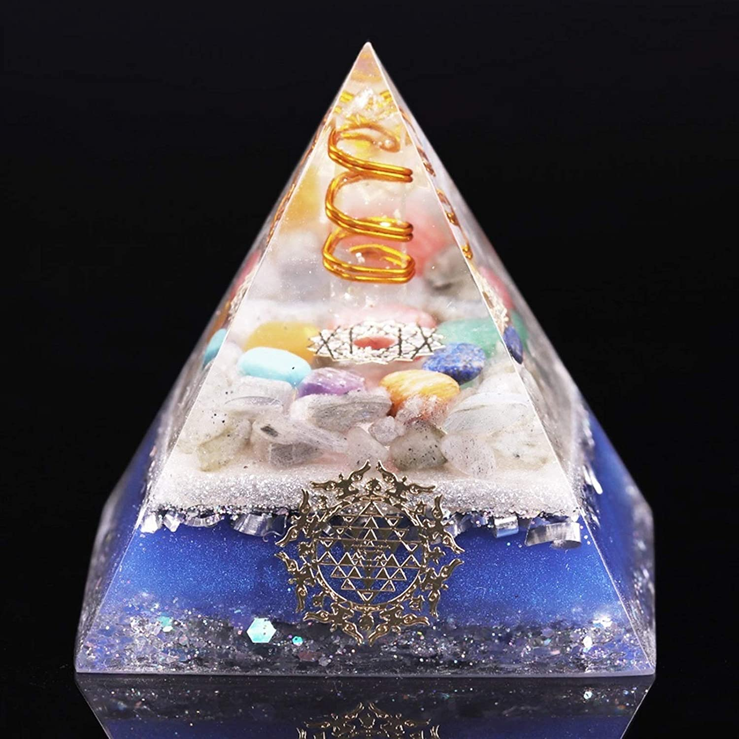 YELVQI Cheap mail order specialty store 7 Chakra Crystal Stones Pyramid Pyr Max 57% OFF Orgonite Reiki Orgone