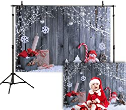 Allenjoy 7X5ft Fabric Christmas Photography Backdrop Winter Snowman Santa Gifts Wood Background Xmas Eve Holiday Party Supplies Cake Table Banner Home Decoration Portraits Photo Booth Studio Prop