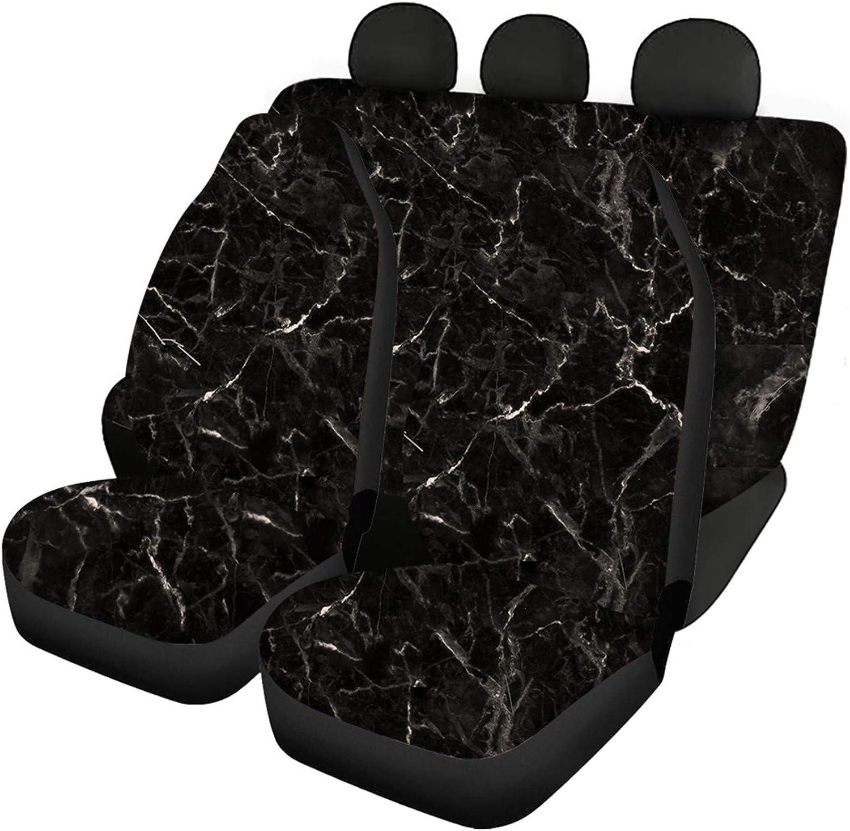 Babrukda Marble Texture Black Car Seat Albuquerque Mall Full Covers Front Rea Ranking TOP13 Set