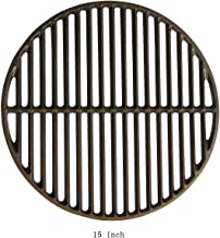 "Dracarys 15"" Cast Iron Grate Grids Sear Grate Fire Pit, Round Cooking Grate Big Green Egg Accessories Fit for Medium Big Green Egg Grill Dome Char-Griller or Same Size Charcoal Grill(Medium - 15"")"