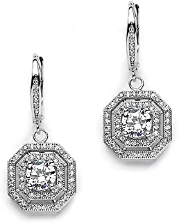 Art Deco Vintage Wedding CZ Dangle Bridal Earrings with Pave Octagon Drops