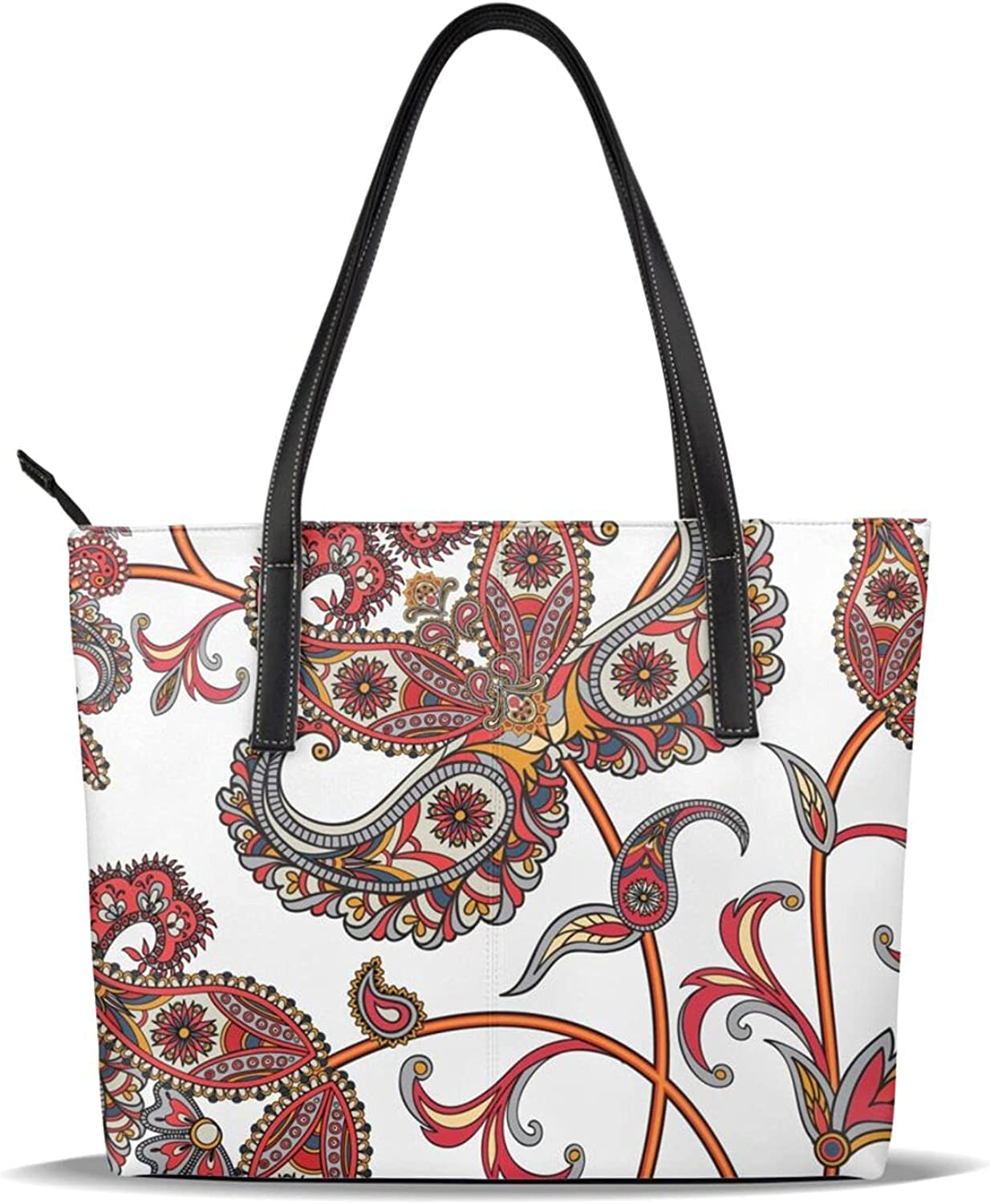 Flower with Paisley Women's Tote Lowest price challenge Handbag H Top Shoulder Bag Rapid rise Hand