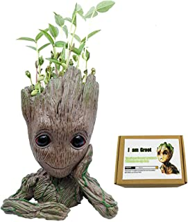 Groot Flower pot Tree Baby Succulent Planter Cute Green Plants Flower Pot with Hole Pen,Guardians of the Galaxy Action Figures Perfect collection Gift