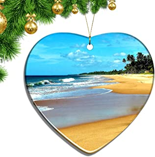 Hqiyaols Ornament Sri Lanka Bentota Beach Christmas Ornaments Ceramic Sheet Souvenir City Travel Pendant Gift Tree Door Window Ceiling Decoration Collection