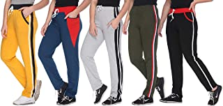 69GAL Shaun Women Track Pant Plain with Side Bone (Multicolor) (S/M/L/XL/3XL/5XL)(Pack of 5)