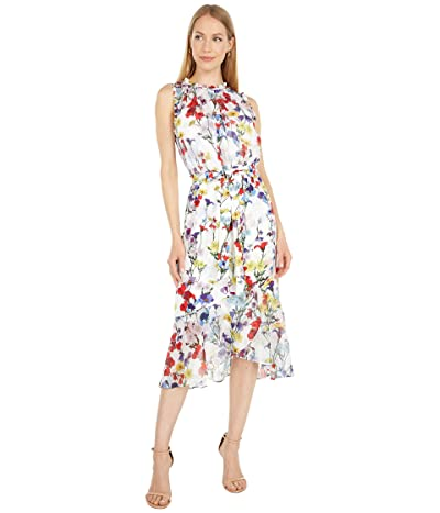 Adrianna Papell Printed Mixed Fabric Dress