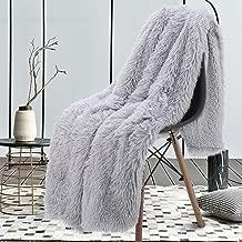 junovo Faux Fur Throw Blanket Super Soft Cozy Fluffy Blankets Luxury Long Hair Shaggy Fuzzy Couch & Bed Throws (Silver Grey, 50x60 inch)