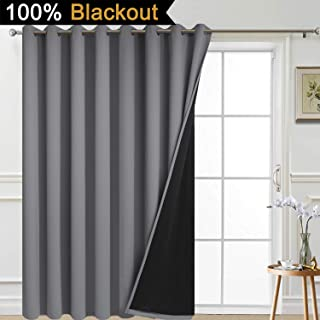 Yakamok Thermal Insulated 100% Blackout Patio Curtain,Extra Wide Blackout Curtain Panel for Patio Doors,100W x 96L, Grey, 1 Panel