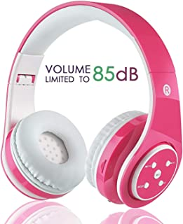 OXENDURE Kids Wireless Bluetooth Headphone with Microphone Volume Limited Foldable Earphone Children Stereo On Ear Headset for PC/TV/Tablets/Smartphones (Pink)