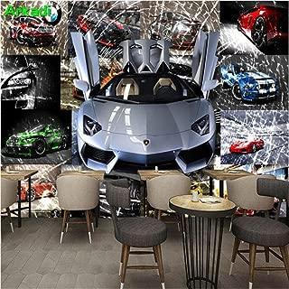 Mural Wallpaper 3D Wallpaper Car Racing Theme Sports Car Broken Glass Mural Theme Hotel Restaurant Ktv Internet Cafe Background Wallpaper-250x350cm