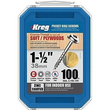 "Kreg SML-C150-100 Pocket Screws, 1-1/2"" #8 Coarse-Thread, Washer-Head (100 Count)"