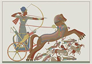 Wee Blue Coo Painting Ancient Egyptian Charioteer Archer Battle Horses Wall Art Print
