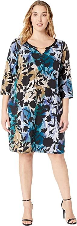 Plus Size Printed Dress w/ Faux Leather Hardware