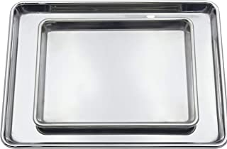 Checkered Chef Stainless Steel Baking Sheets - Heavy Duty Warp Resistant Baking Pans - Set of Two - 1 Half Sheet Pan And 1 Quarter Sheet Pan