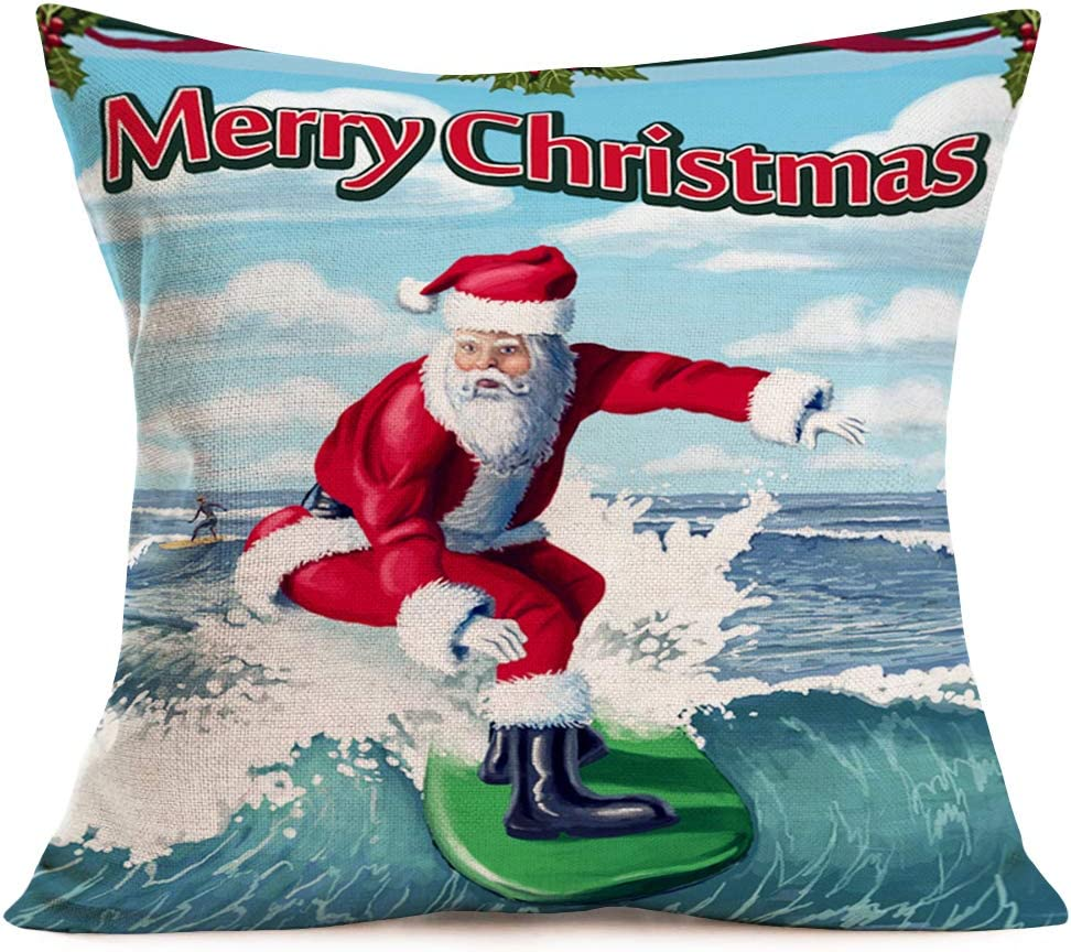 Hopyeer Merry Christmas Ocean Surfing Santa Claus Decor Pillow Covers Cotton Linen Xmas Red Mistletoe Sea Winter Holiday Throw Pillow Case Sofa Chair Car Decoration Cushion Cover 18