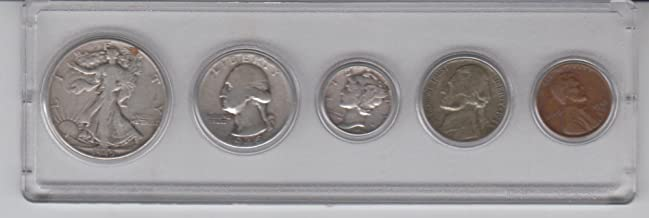 1945 Birth Year Coin Set (5) Coins- Silver Half Dollar,Silver Quarter, Silver Dime, Nickel, and Penny, all Dated 1945 and Encsed in a Plastic Display Case. Very Good