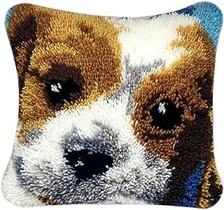 PARIO Stickpackung Hunde Kissenbezug 40x40 cm Kissen Hülle Latch Hook Kit Stickbild Sticken Kreuzstich Stickerei Stricken Basteln Handarbeit Stickset für Kinder und Erwachsenen