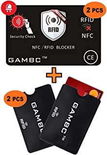 894a66dc45b445 GAMBC® [4 Pz] ✅ 2 Carte RFID Protection con LED + 2 Custodie