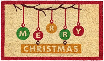 """Rugsmith Multi Machine Tufted Ornaments Merry Christmas Doormat, 18"""" x 30"""", White"""
