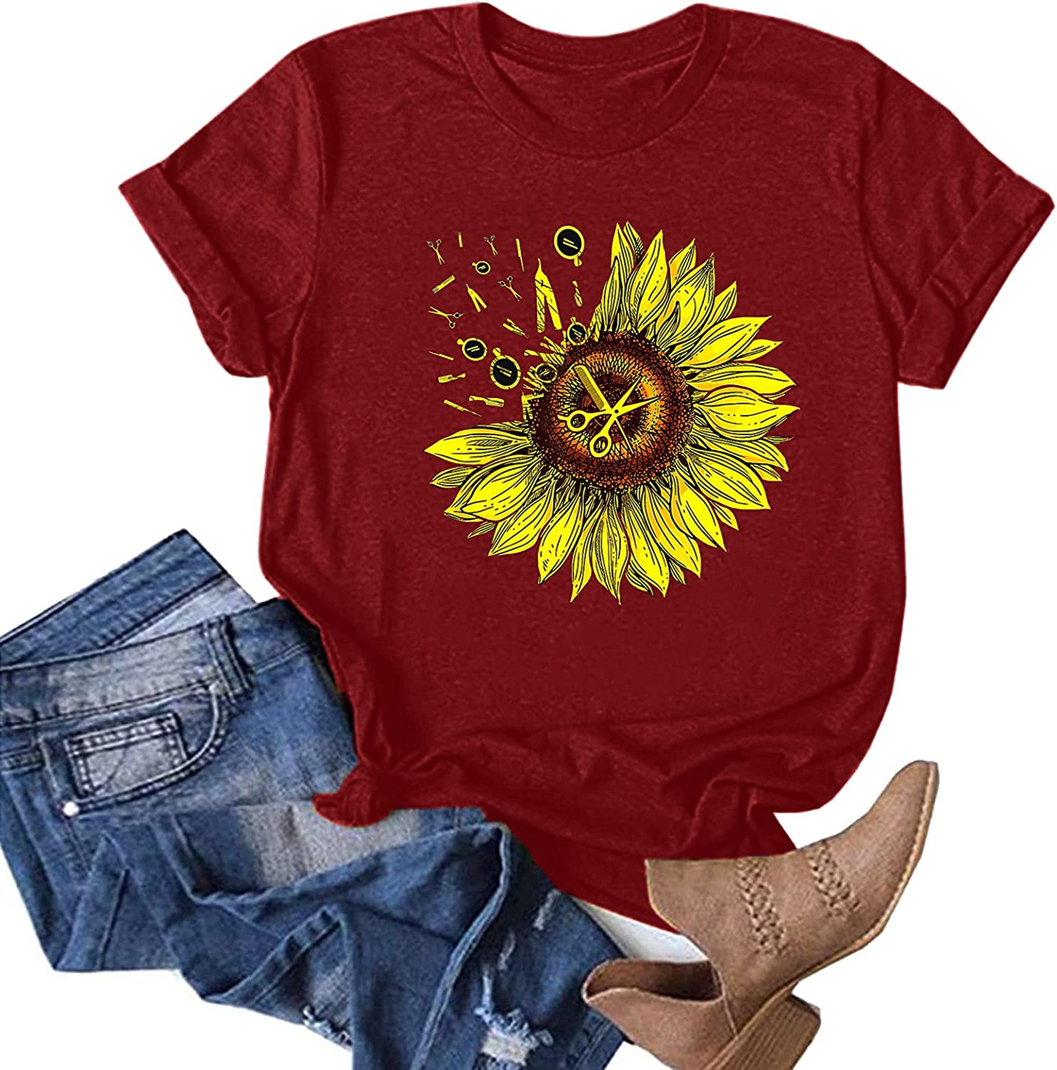 AODONG Short Sleeve Tops for Women, Womens Casual Summer Loose Fit Crewneck Graphic Blouses Tunics Tops Tees Shirts