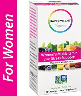 Rainbow Light Vibrance Women's Multivitamin Plus Stress Support, 120 Count Capsules, Dietary Supplement Made with Whole Foods
