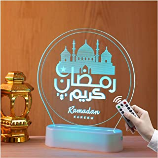 Portonss Remote Control Ramadan Themed LED Beside Lamp for Bedroom Decorative Colorful Eid Lantern/Castle Scented Night Li...