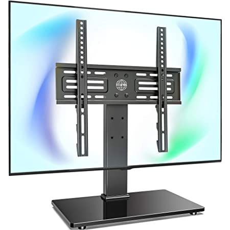 Amazon Com Fitueyes Universal Tv Stand Table Top Tv Stand For 27 55 Inch Lcd Led Tvs 6 Level Height Adjustable Tv Base With Tempered Glass Base Wire Management Vesa 400x400mm Holds Up To