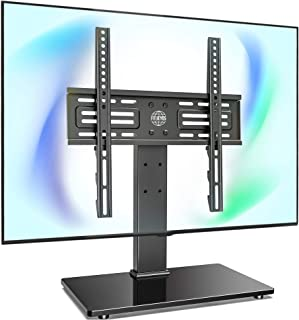 FITUEYES Tabletop TV Stand Mount with Security Wire for 26''-55'' LCD LED TV - 6 Level Height Adjustable with Tempered Gla...