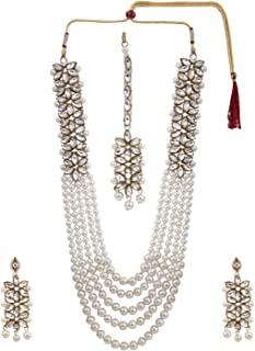 Efulgenz Indian Multi Layered Bollywood Traditional Faux Kundan Pearl Beads Bridal Necklace Earrings Maangtika Wedding Jewelry Set