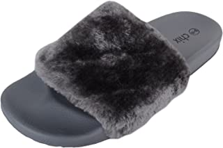 ABSOLUTE FOOTWEAR Womens Slip On Slider Mules/Slippers/Shoes with Faux Fur Uppers