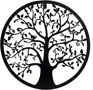 DRW Cuadro Metal Calado árbol de la Vida Negro con pájaros, 40x40x1 cm
