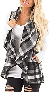 Sumtory Womens Sleeveless Woolen Jackets Lapel Casual Work Office Plaid Blazer Outerwear-Capes with Pockets