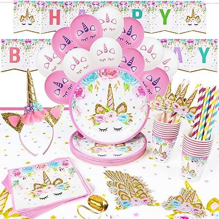 16 Ospiti Kit Compleanno Unicorno Festa Compleanno Bambini Piatti Bicchieri Tovaglioli Cannucce Tovaglia Cerchietto Festone Buon Compleanno Palloncini Party Decorazioni Unicorno Compleanno Bambina