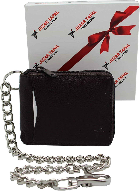RFID Safe Leather Zipper Bi-fold Chain Wallet for Men's Biker Trucker Snake Texture Brown