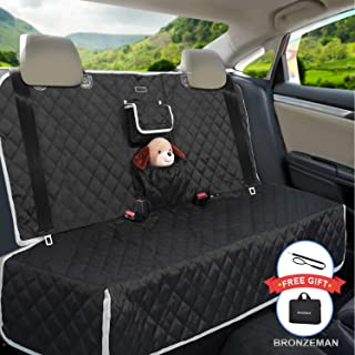 BRONZEMAN 100% Waterproof Bench Car Seat Protector - Tissue Box & Storage Bag Car Seat Protector, Heavy-Duty and Anti-Slip Back Seat Cover for Dogs and Kids,Universal Size for Car, Truck or SUVs