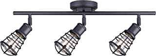CANARM LTD IT611A03GPH Otto 3 Light Track Rail Graphite with Metal Cage Shades