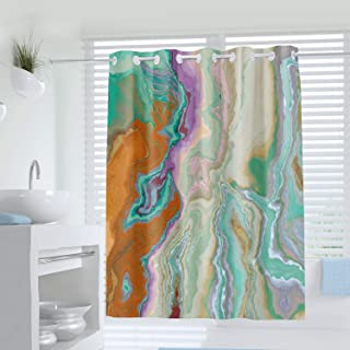 Abstract Art Hookless Shower Curtain, Abstract Ink Colorful Texture Print Curtain for Bathroom Decor,Waterproof Fabric Bathtub Showers 72 x 72 Inches,Multicolor